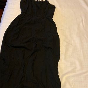 Dresses - Cotton black spaghetti strap dress